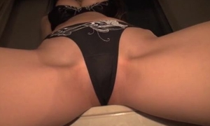 Asian hottie rides thick hunger cock with the brush panties on